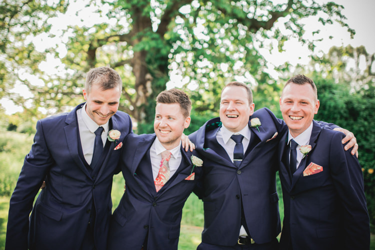Ted Baker Moss Bros Groom Groomsmen Suits Navy Romantic Coral Summer Wedding http://www.ljm-photography.co.uk/