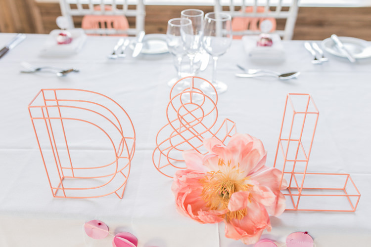 Wire Letters Romantic Coral Summer Wedding http://www.ljm-photography.co.uk/