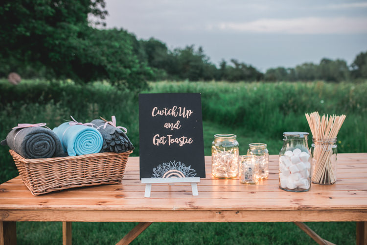 Smores Marshmallow Toasting Station Bar Romantic Coral Summer Wedding http://www.ljm-photography.co.uk/