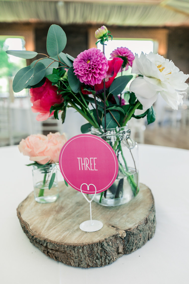 Jar Flowers Table Centrepiece Dahlia Rose Peony Pink White Decor Romantic Coral Summer Wedding http://www.ljm-photography.co.uk/