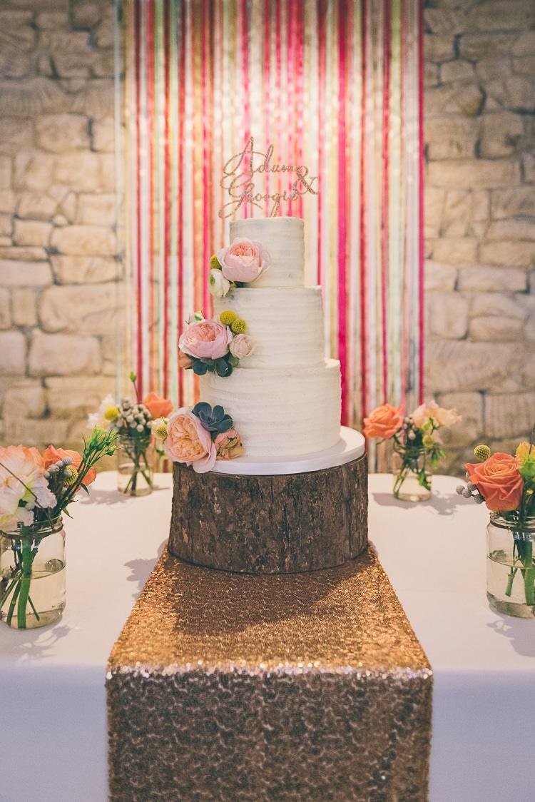 Ribbon Backdrop Butter Cream Cake Log Stand Sequin Cloth Runner Table Eclectic Colour Pop Barn Wedding http://www.robtarren.co.uk/