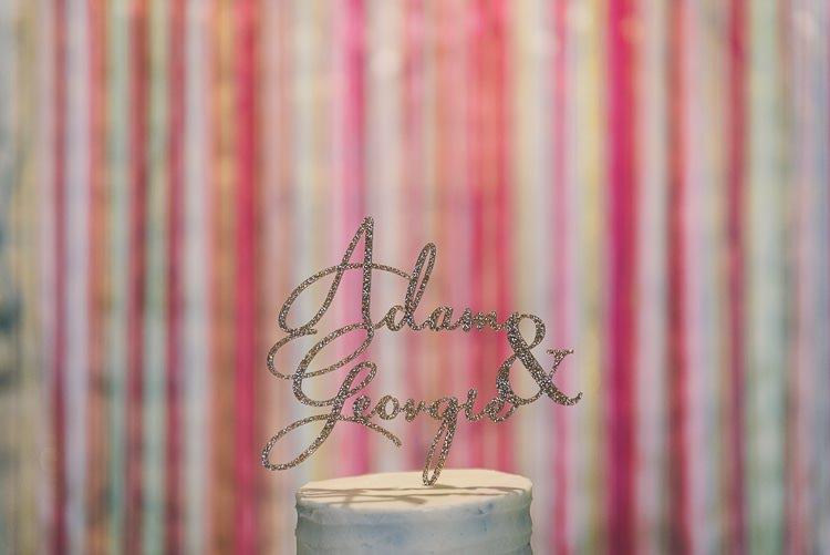 Glitter Cake Topper Names Eclectic Colour Pop Barn Wedding http://www.robtarren.co.uk/