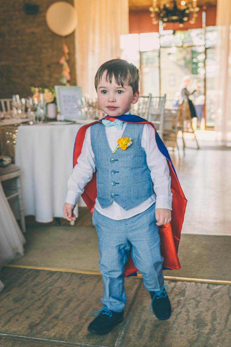 Page Boy Bow Tie Waistcoat Superhero Eclectic Colour Pop Barn Wedding http://www.robtarren.co.uk/