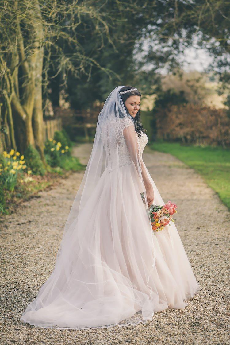 Allure Bridals Blush Dress Gown Bride Tulle Veil Britten Eclectic Colour Pop Barn Wedding http://www.robtarren.co.uk/