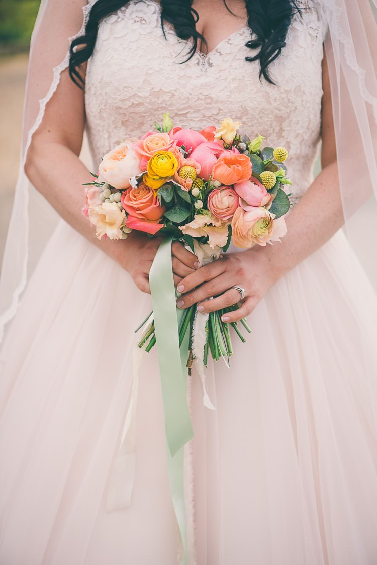 Coral Peony Peonies Roses Pink Blush Yellow Spring Flowers Bouquet Bride Bridal Eclectic Colour Pop Barn Wedding http://www.robtarren.co.uk/