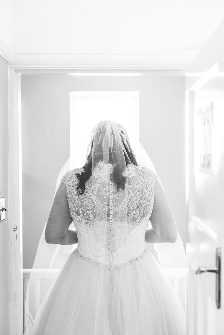 Dress Veil Back Lace Embellished Allure Bridal Gown Bride Eclectic Colour Pop Barn Wedding http://www.robtarren.co.uk/