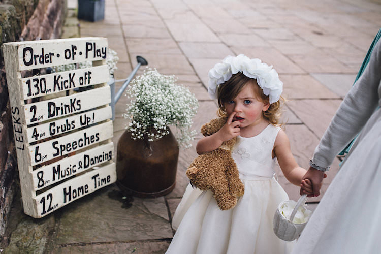 Flower Girl Dress Teddy White Crown Vintage Sports Rustic Yellow Barn Wedding http://www.redonblonde.com/