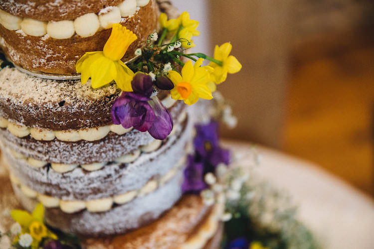 Naked Cake Victoria Sponge Flowers Icing Vintage Sports Rustic Yellow Barn Wedding http://www.redonblonde.com/