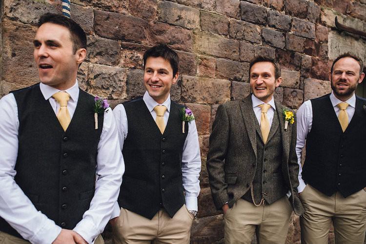 Tweed Waistcoats Chinos Groom Groomsmen Ties Vintage Sports Rustic Yellow Barn Wedding http://www.redonblonde.com/