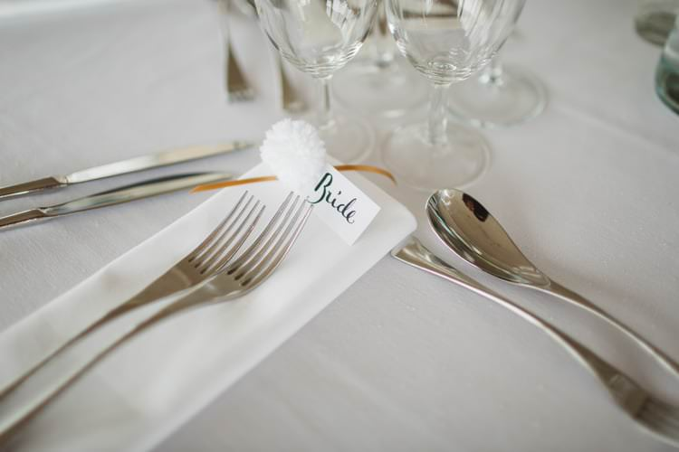 Calligraphy Place Setting Name Pom Pom Chic City White Gold Wedding http://www.francessales.co.uk/