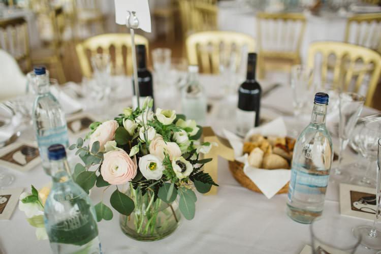 eucalyptus gypsophila anemones ranunculus table flowers centrepieces Chic City White Gold Wedding http://www.francessales.co.uk/