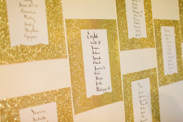 Glitter Calligraphy Table Seating Plan Chart Chic City White Gold Wedding http://www.francessales.co.uk/