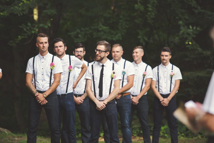 Outdoor Ceremony Groom Groomsmen White Shirt Black Suspenders Tie Jeans Felt Floral Button Hole Trees Artistic Whimsical Woodland Wedding http://www.adlivcollective.com/