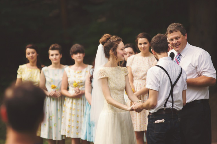 Outdoor Ceremony Bride Groom Bridesmaids Celebrant Artistic Whimsical Woodland Wedding http://www.adlivcollective.com/