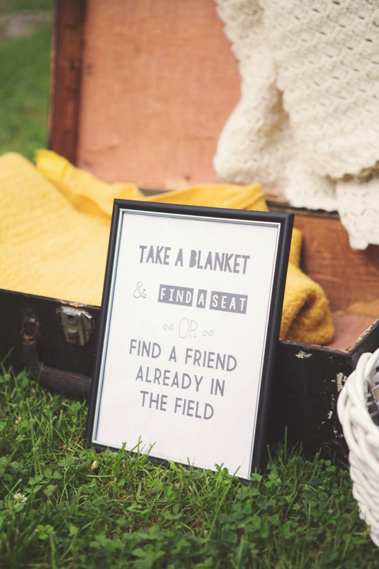 Blanket Sign Suitcase Ceremony Idea Grass Artistic Whimsical Woodland Wedding http://www.adlivcollective.com/