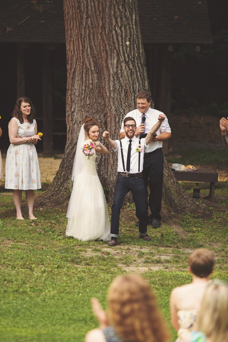 Outdoor Ceremony Bride Cap Sleeve Beaded Gown Veil Felt Floral Bouquet Groom White Shirt Suspenders Jeans Celebrant Tree Celebrate Artistic Whimsical Woodland Wedding http://www.adlivcollective.com/