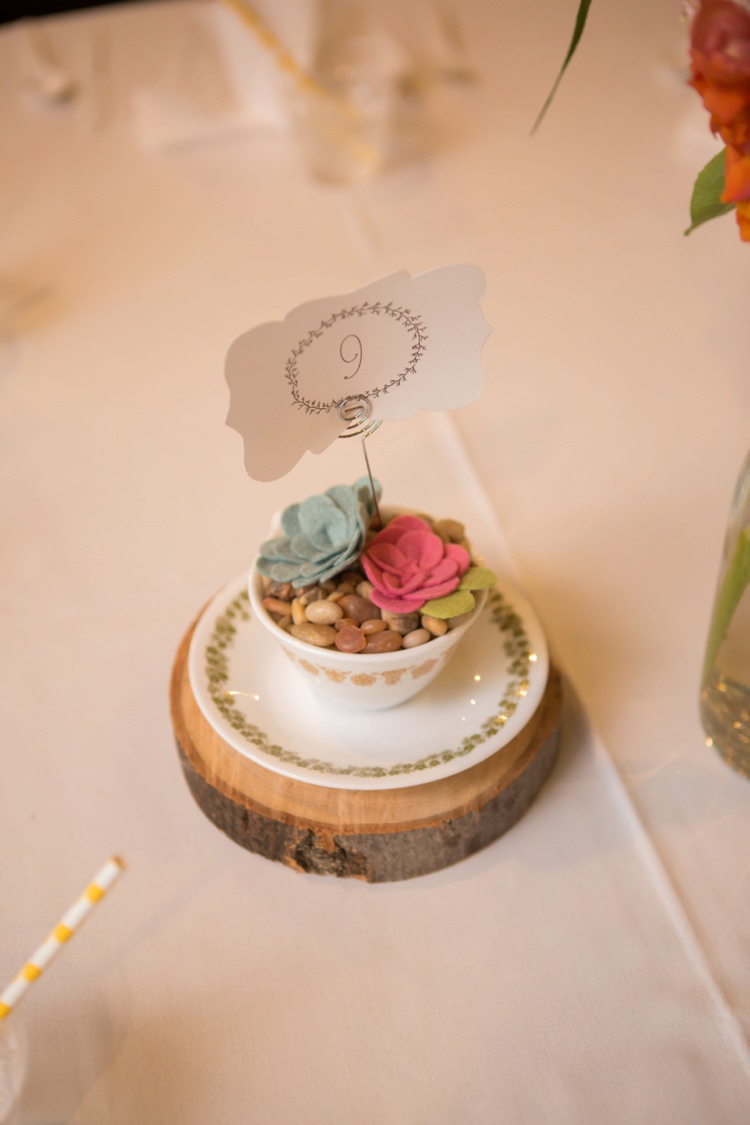 Reception Table Number Centrepiece Round Wood Vintage Tea Cup Plate Felt Flowers Artistic Whimsical Woodland Wedding http://www.adlivcollective.com/