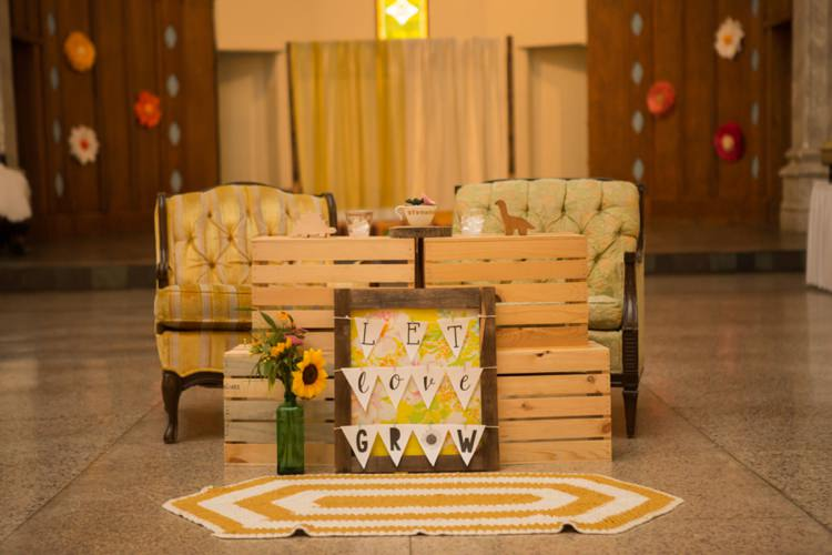 Reception Vintage Chairs Let Love Grow Sign Sunflowers Hanging Décor Yellow Rug Artistic Whimsical Woodland Wedding http://www.adlivcollective.com/
