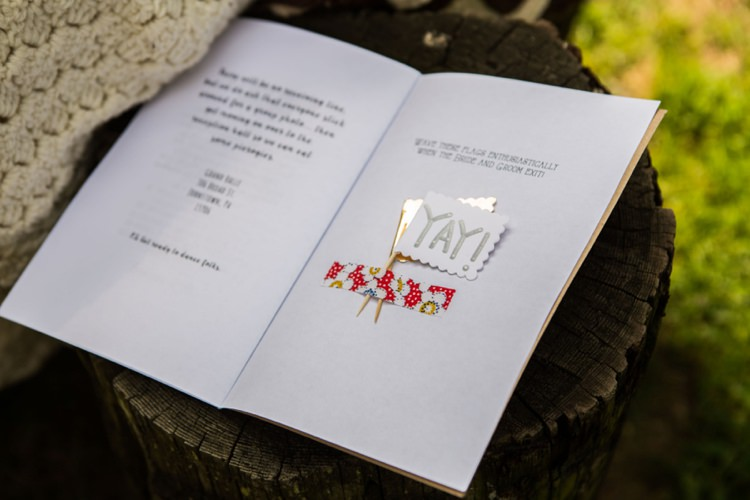 Ceremony Booklet Celebration Flags DIY Artistic Whimsical Woodland Wedding http://www.adlivcollective.com/