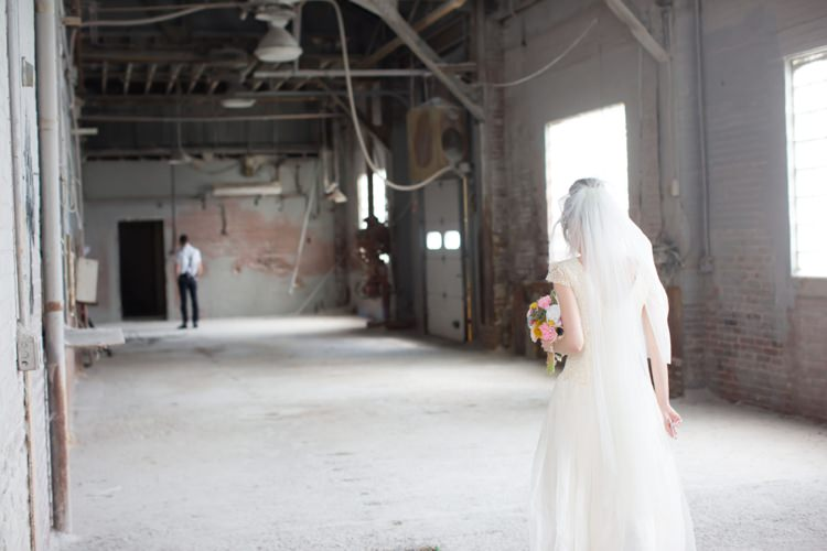 Groom Bride First Look Warehouse Artistic Whimsical Woodland Wedding http://www.adlivcollective.com/