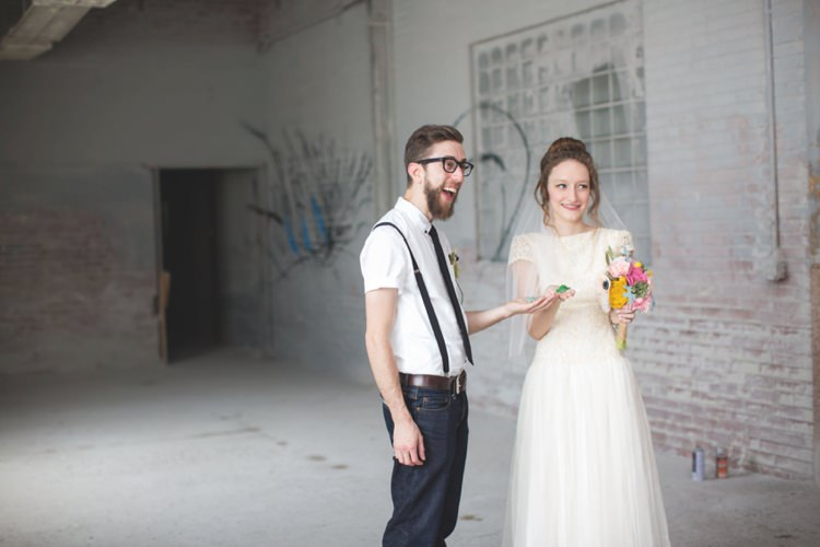 First Look Groom White Shirt Suspenders Black Tie Jeans Bride Cap Sleeve Beaded Bridal Gown Veil Felt Floral Bouquet Artistic Whimsical Woodland Wedding http://www.adlivcollective.com/