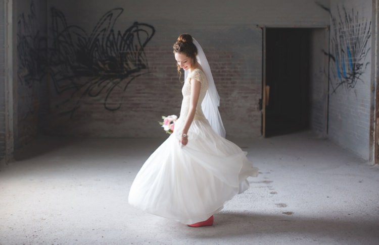 Bride Cap Sleeve Beaded Bridal Gown Veil Pink Shoes Felt Floral Bouquet Warehouse Graffiti Artistic Whimsical Woodland Wedding http://www.adlivcollective.com/
