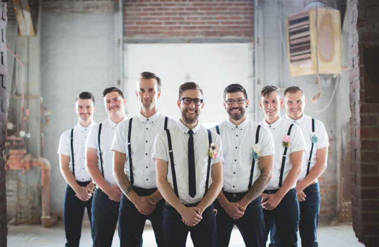 Groom Groomsmen White Shirt Black Suspenders Jeans Felt Floral Button Hole Artistic Whimsical Woodland Wedding http://www.adlivcollective.com/