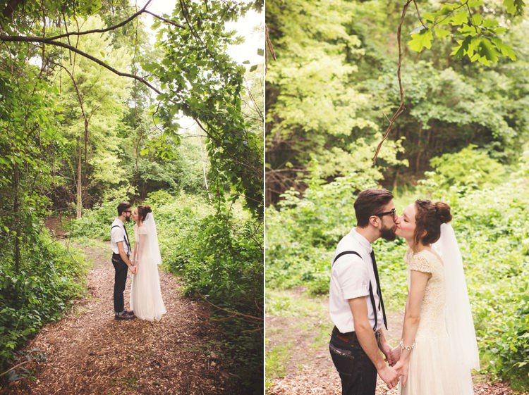 Bride Cap Sleeve Beaded Bridal Gown Veil Bun Hairstyle Groom White Shirt Black Suspenders Tie Jeans Glasses Trees Sunlight Kiss Artistic Whimsical Woodland Wedding http://www.adlivcollective.com/