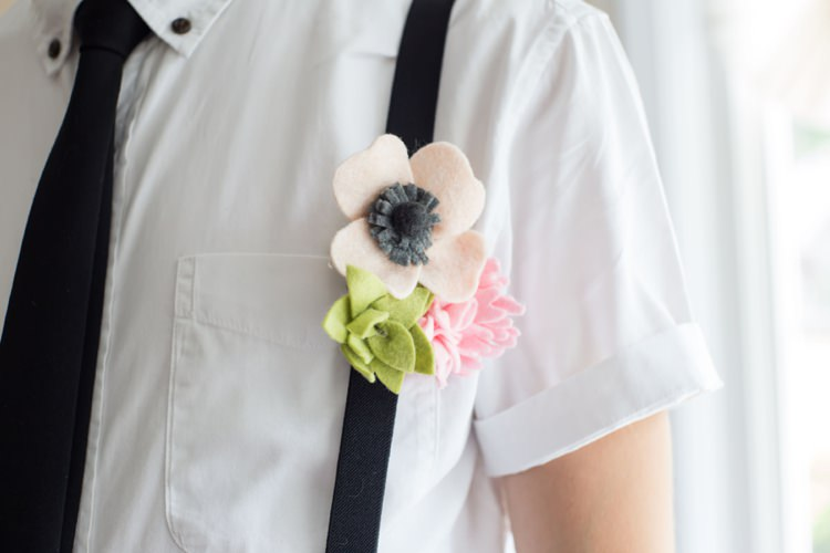 Groom Felt Floral Button Hole Flower Anemone Pink Green Black Suspenders Tie Artistic Whimsical Woodland Wedding http://www.adlivcollective.com/