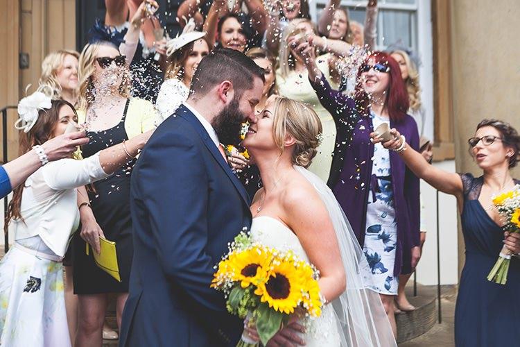 Confetti Throw Navy Yellow Sunflowers Brewery Wedding http://www.jemmakingphotography.co.uk/