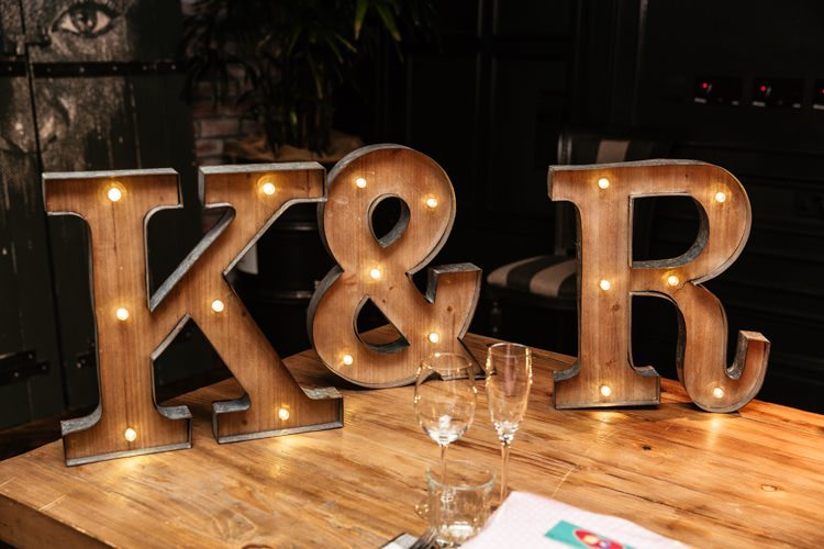 Letter Lights Quirky Intimate Laid Back Wedding http://www.cassandralane.co.uk/