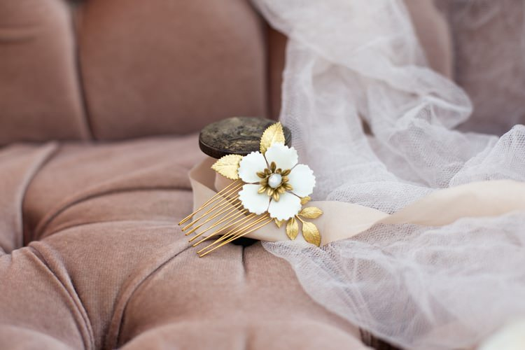 Bridal Hair Accessory Gold Hair Comb Pearl Crystal Bride Blush Sofa Tulle Romantic Vintage Wedding Ideas http://katymurrayphotography.com/