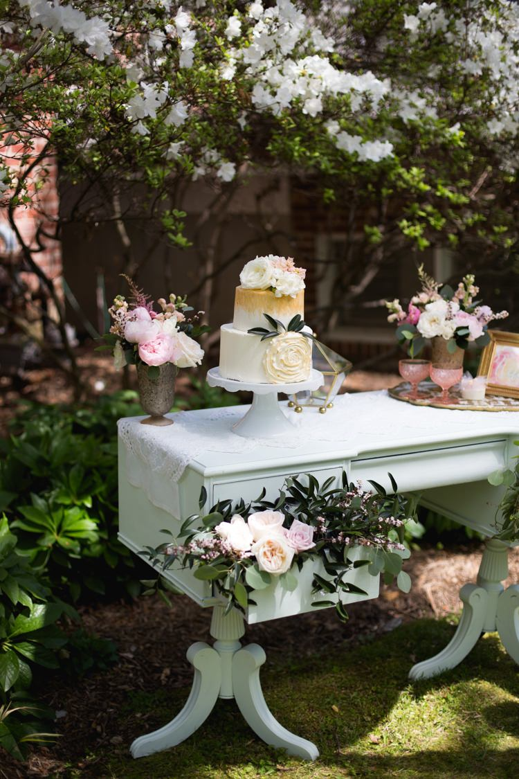 Dessert Table Wedding Cake Gold Cream Flowers Roses Leaves Table Pink Florals Outdoors Romantic Vintage Wedding Ideas http://katymurrayphotography.com/