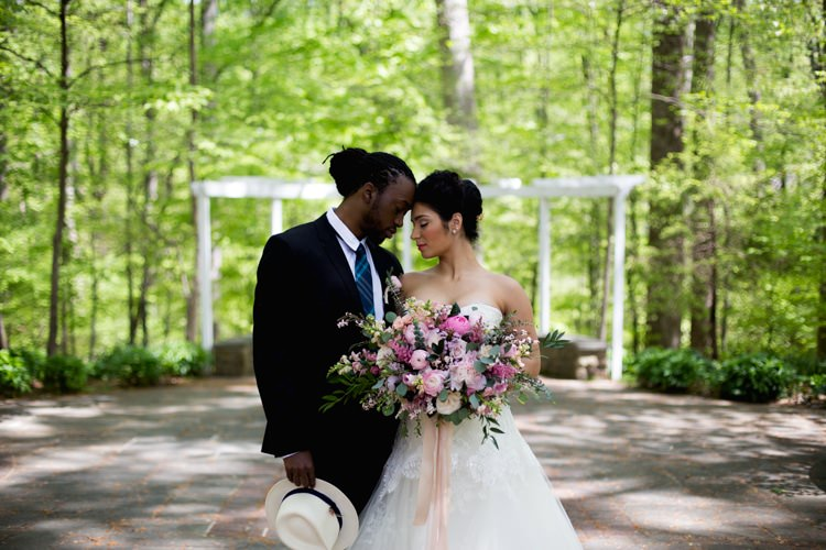 Groom Suit Blue Striped Tie White Fedora Bride Strapless Lace Tulle Gown Pink Green Bouquet Peonies Tea Roses Eucalyptus Florals Outdoors Romantic Vintage Wedding Ideas http://katymurrayphotography.com/