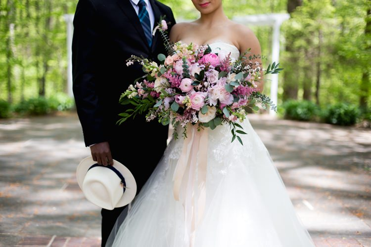 Groom Suit Blue Striped Tie White Fedora Bride Strapless Lace Tulle Gown Pink Green Bouquet Peonies Tea Roses Eucalyptus Ribbon Florals Outdoors Romantic Vintage Wedding Ideas http://katymurrayphotography.com/