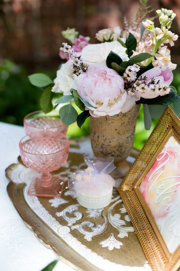 Dessert Table Gold Pink White Flowers Roses Peonies Tray Welcome Sign Watercolour Blush Glasses Outdoors Romantic Vintage Wedding Ideas http://katymurrayphotography.com/