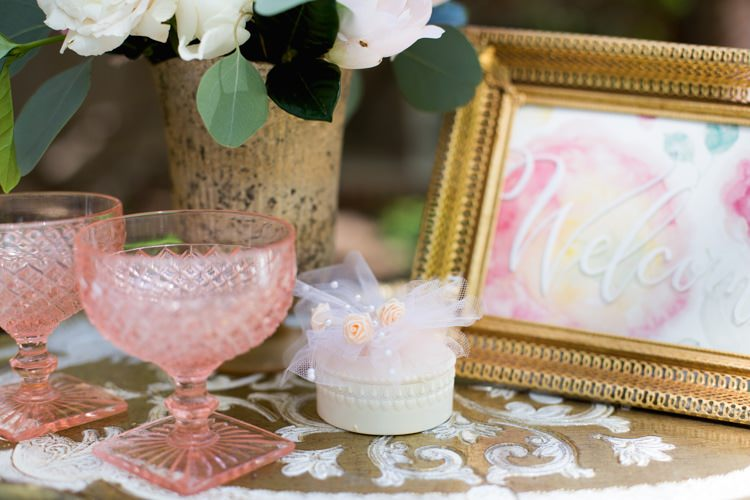 Welcome Sign Gold Frame Watercolour Pink Blush Glasses Tray Flowers Vase Romantic Vintage Wedding Ideas http://katymurrayphotography.com/
