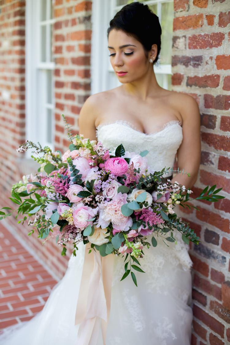 Bride Strapless Lace Tulle Gown Pink Green Bouquet Peonies Tea Roses Eucalyptus Ribbon Florals Bricks Romantic Vintage Wedding Ideas http://katymurrayphotography.com/