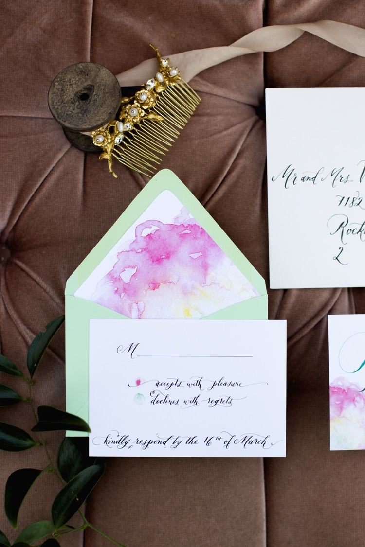 Stationery Invitation RSVP Card Calligraphy Watercolour Pink Green Gold Hair Comb Bridal Accessory Pearl Crystal Romantic Vintage Wedding Ideas http://katymurrayphotography.com/