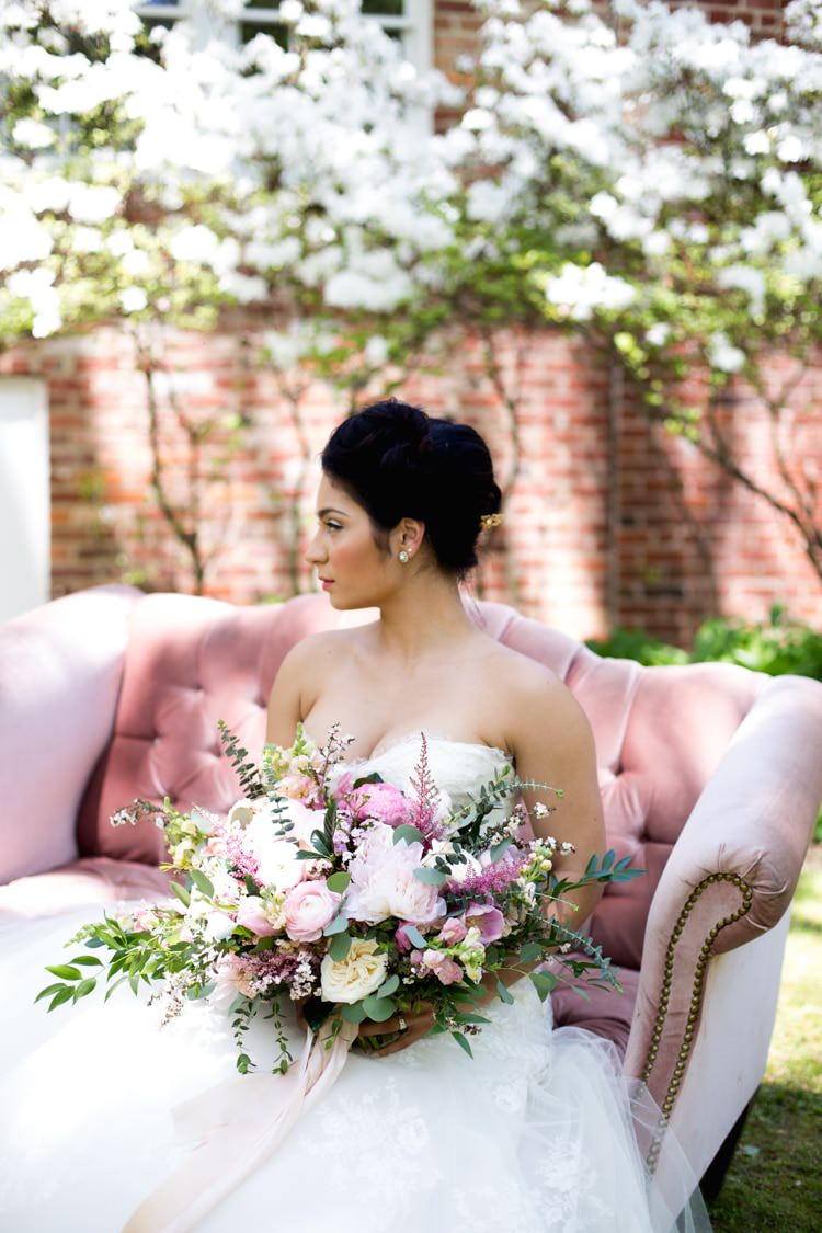 Bride Strapless Lace Tulle Gown Gold Hair Comb Pink Green Bouquet Peonies Tea Roses Eucalyptus Blush Sofa Outdoors Azaleas Romantic Vintage Wedding Ideas http://katymurrayphotography.com/