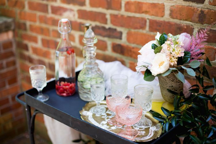 Drink Tray Retro Décor Glass Bottles Blush Glasses Tray Pink Green Florals Peonies Rose Vase Romantic Vintage Wedding Ideas http://katymurrayphotography.com/