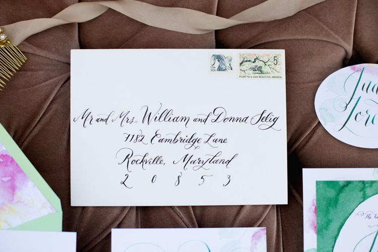Stationery Invitation Envelope Name Card Calligraphy Watercolour Green Pink Romantic Vintage Wedding Ideas http://katymurrayphotography.com/