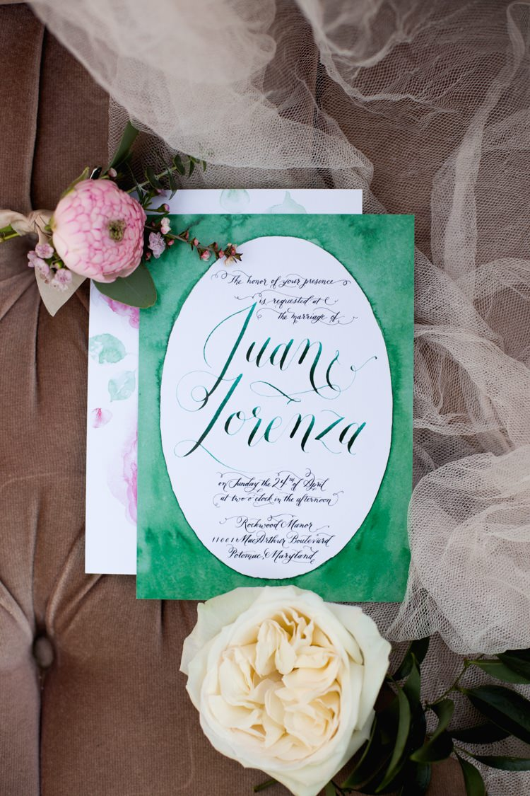 Stationery Invitation Envelope Calligraphy Watercolour Green Pink Flowers Rose Peony Romantic Vintage Wedding Ideas http://katymurrayphotography.com/