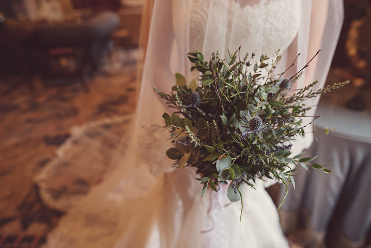 Bouquet Bride Bridal Foliage Thistle Vintage Quirky Rustic Natural Winter Wedding http://www.rebeccadouglas.co.uk/