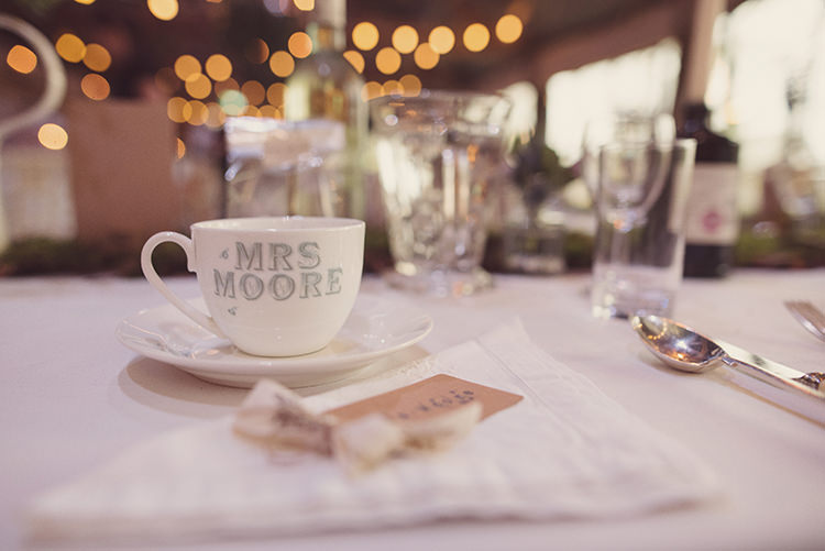 Tea Cup Place Name Setting Personalised Quirky Rustic Natural Winter Wedding http://www.rebeccadouglas.co.uk/