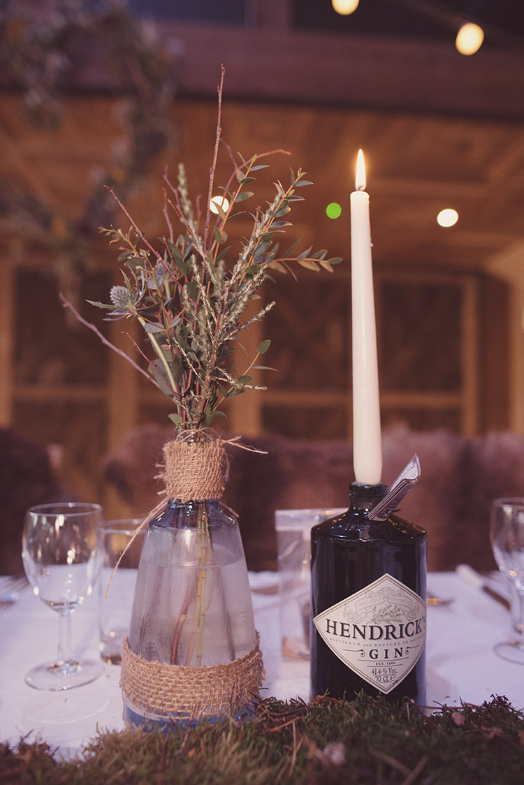 Hessian Vase Flowers Foliage Gin Bottle Candle Quirky Rustic Natural Winter Wedding http://www.rebeccadouglas.co.uk/