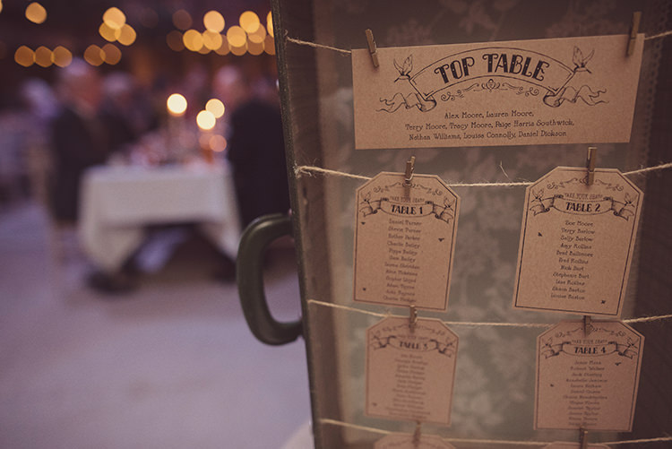 Suitcase Table Plan Seating Chart Quirky Rustic Natural Winter Wedding http://www.rebeccadouglas.co.uk/