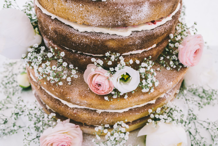 Victoria Sponge Naked Cake Layer Flowers Icing Home Made Country Festival Wedding http://www.jamespowellphotography.co.uk/