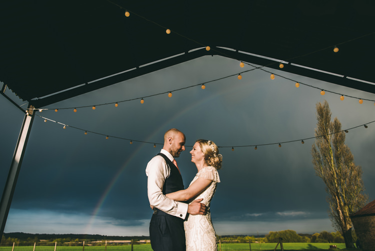 Rainbow Festoon Lights Bride Groom Home Made Country Festival Wedding http://www.jamespowellphotography.co.uk/