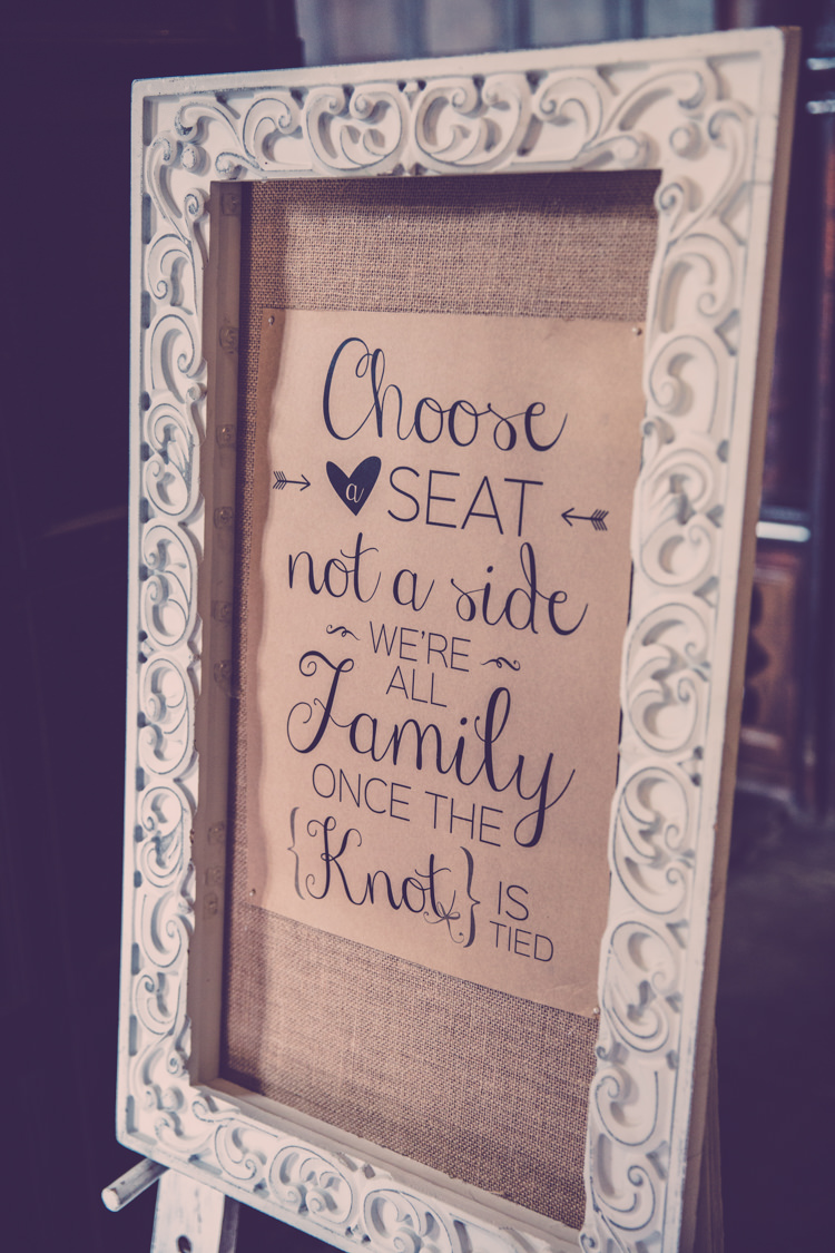 Choose A Seat Not A Side Hessian Burlap Sign Alternative Game of Thrones Fete Wedding http://hayleybaxterphotography.com/